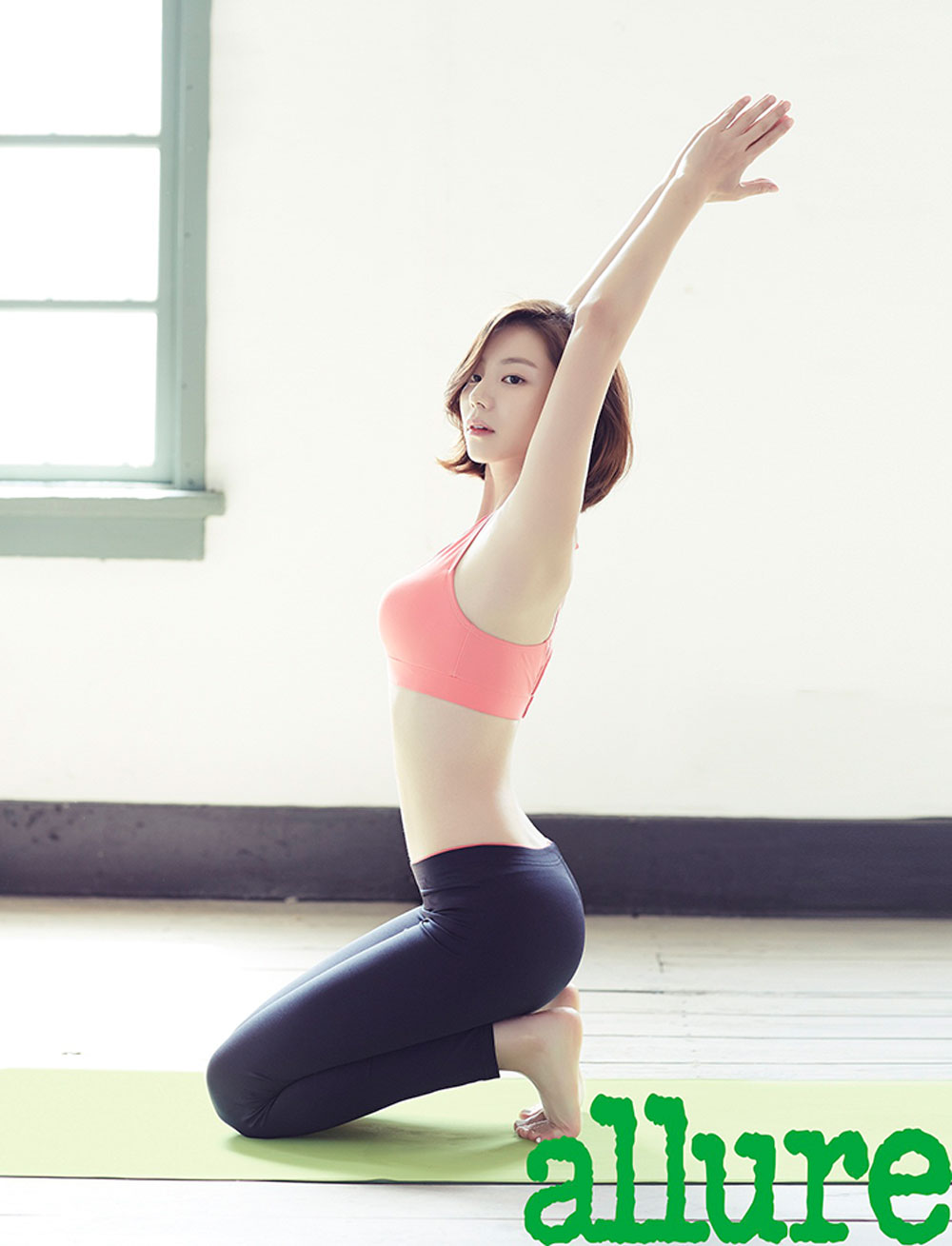 Korean actress Park Soo Jin yoga style