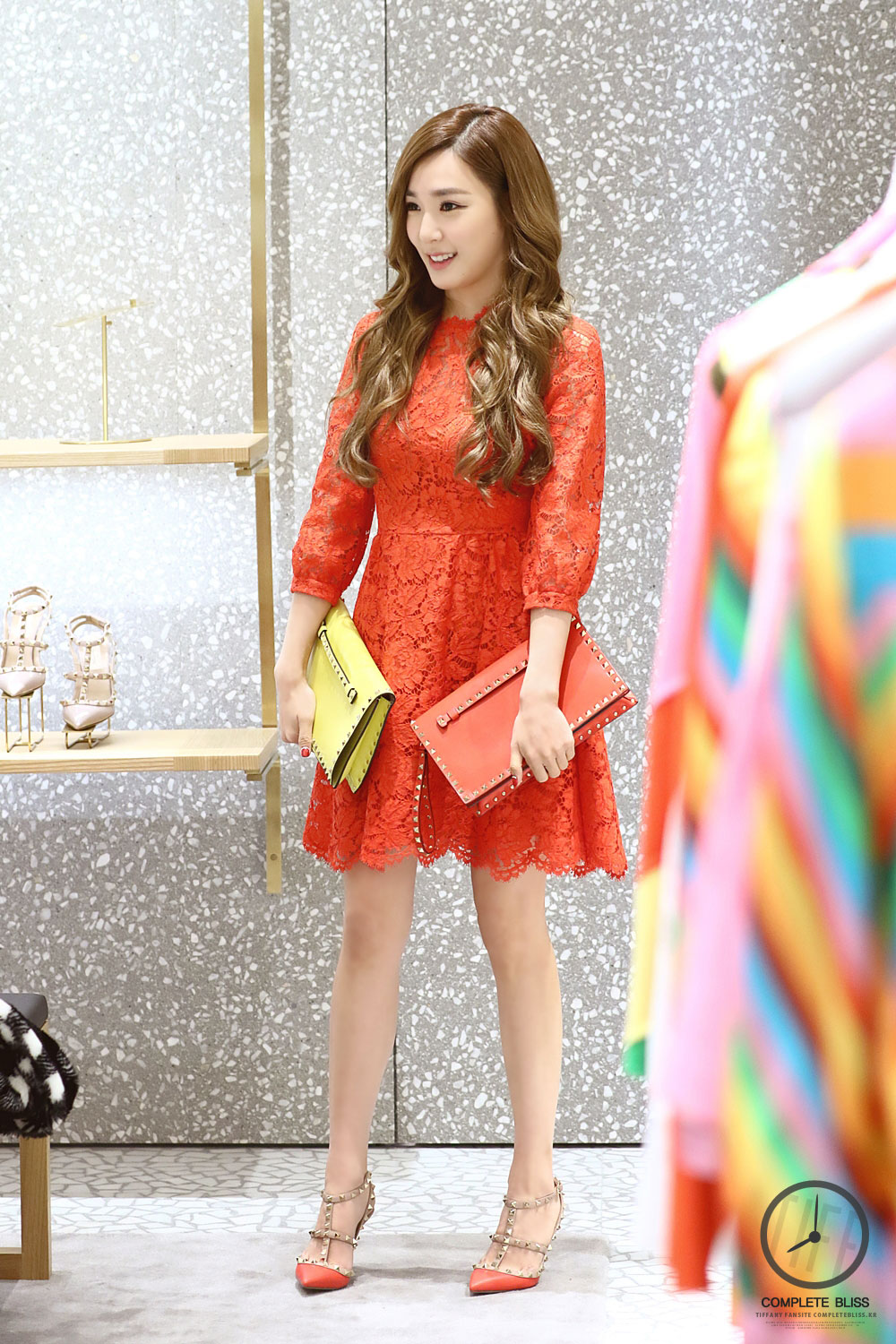 Girls Generation Tiffany red Valentino lace dress
