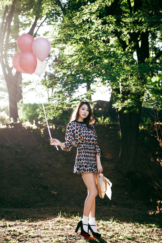 Korean model Eun Bin autumn balloons