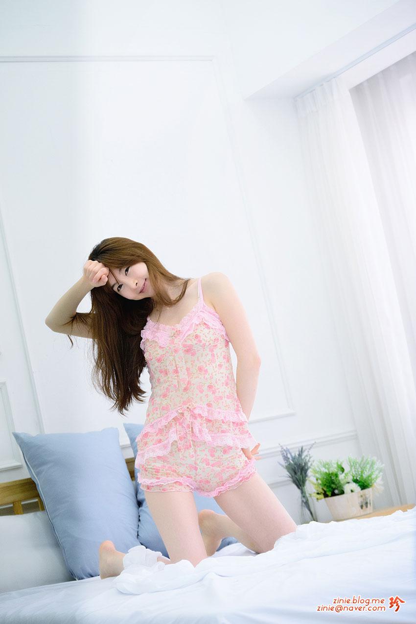 Lee Gana pink pajamas studio photoshoot