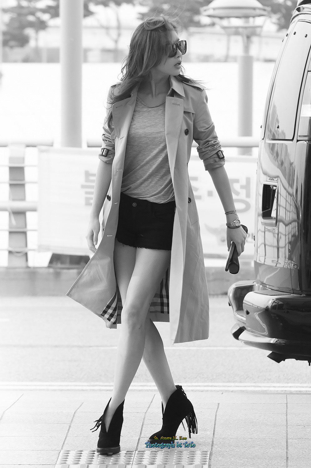 Korean actress Kang So Ra airport fashion