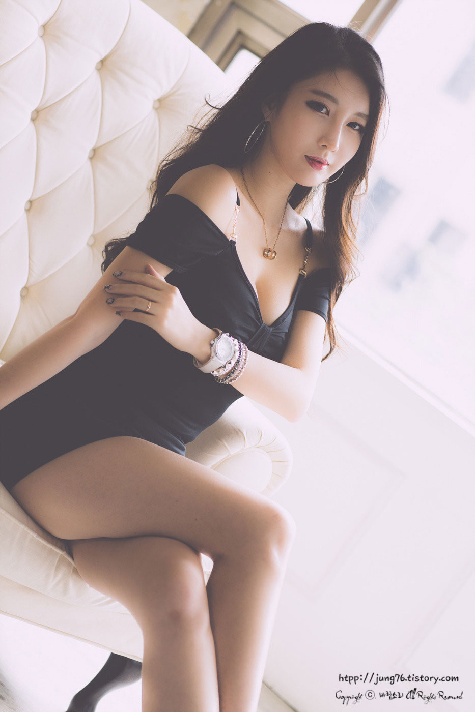 Shin Se Ha Korean black mini dress