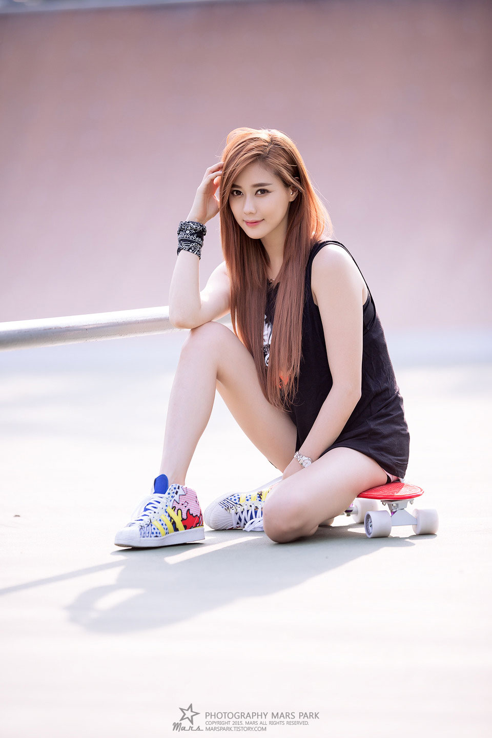 Korean model Kim Ha Yul skatepark photoshoot